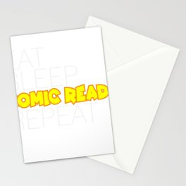 Eat Sleep Comic Reads Repeat Stationery Cards