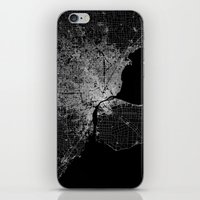 detroit iPhone & iPod Skins featuring Detroit map  by Line Line Lines