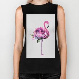 Flower Flamingo Biker Tank