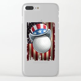 Golf US Flag 4th Of July Clear iPhone Case
