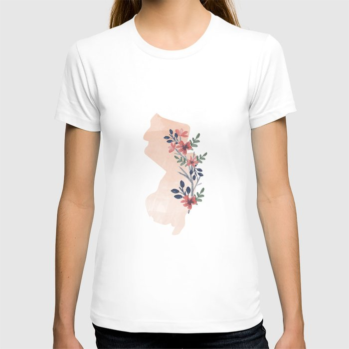 New Jersey Watercolor Floral State T-shirt