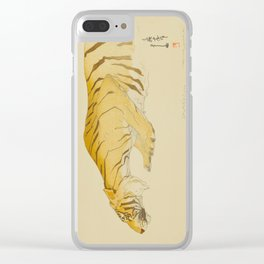 Sketch of Tiger Zoological Garden Vintage Beautiful Japanese Woodblock Print Hiroshi Yoshida Clear iPhone Case