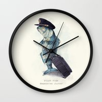 melissa smith Wall Clocks featuring The Pilot by Eric Fan