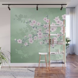 Pink Cherry Blossom Green Background Wall Mural