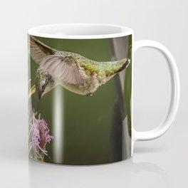 Hummingbird and deck flowers Coffee Mug