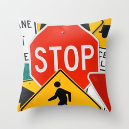 Road Traffic Sign Collage Throw Pillow