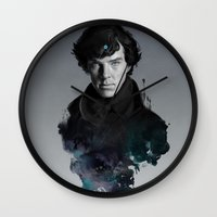 artgerm Wall Clocks featuring The Excellent Mind by Artgerm™
