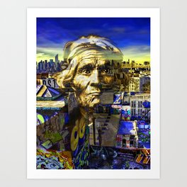 Ghost Tribe Native Americans in New York Yellow Art Print