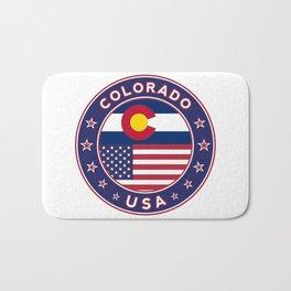 Colorado, Colorado t-shirt, Colorado sticker, circle, Colorado flag, white bg Bath Mat