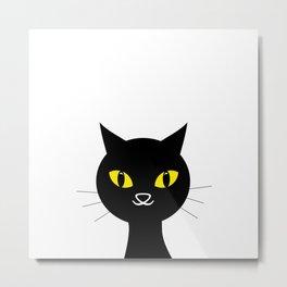 Black cat on white background #society6 #decor #buyart #artprint Metal Print