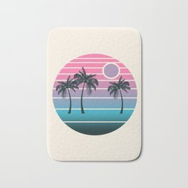 Dude! - retro 70s throwback minimal sunset beach tropical palm trees 1970's minimalism decor socal Bath Mat