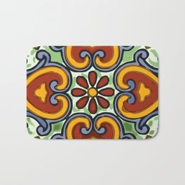 Talavera Mexican tile inspired bold design in green, gold, red and blue Bath Mat