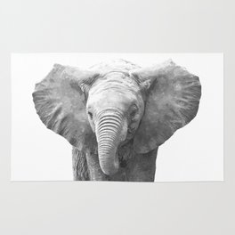 Black and White Baby Elephant Rug