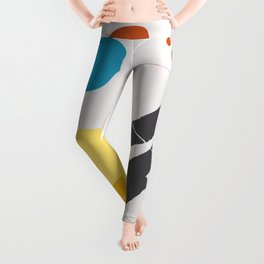 Shape & Hue Series No. 1 – Yellow, Orange & Blue Modern Abstract Leggings