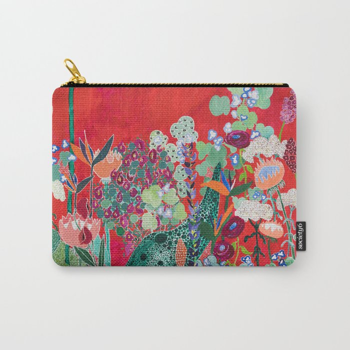 Red floral Jungle Garden Botanical featuring Proteas, Reeds, Eucalyptus, Ferns and Birds of Paradise Carry-All Pouch