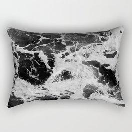 Black and White Waves Rectangular Pillow