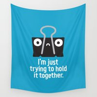 anxiety Wall Tapestries featuring Get a Grip by David Olenick