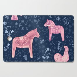 Swedish Dala Horse and Rooster Blue and Pink Pattern Cutting Board