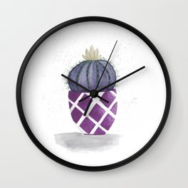 Purple round cactus Wall Clock