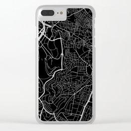 Street MAP Jerusalem // Black&White Clear iPhone Case