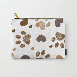 Doodle brown paw prints with hearts seamless fabric design pattern Carry-All Pouch