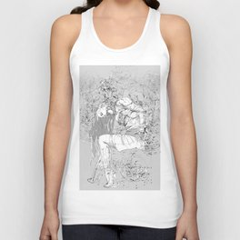 Lady in Peonies Unisex Tank Top