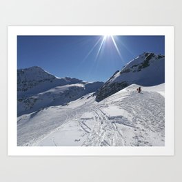 Up here, with sun and snow Art Print