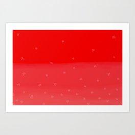 Snowflakes in Red Art Print