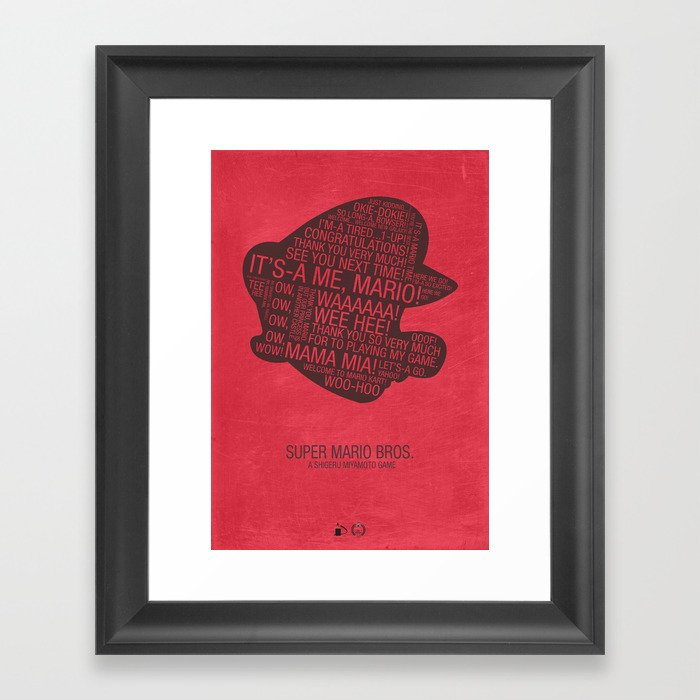 Super Mario Typography Framed Art Print