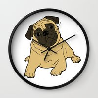 pug Wall Clocks featuring PUG by Elena O'Neill