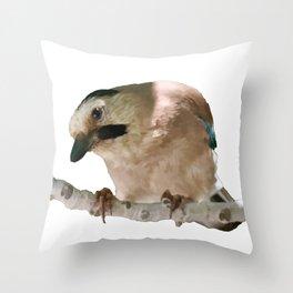 European Jay On Branch Vector Throw Pillow