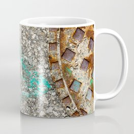 Urban Texture Photography - Green Painted Asphalt Coffee Mug