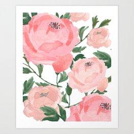Peony Watercolor Collage Art Print