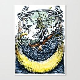 Crescent Canoeist Canvas Print