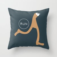 run Throw Pillows featuring Run by Natallia Pavaliayeva