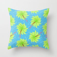 Pattern of Palm Tree-like Flowers Throw Pillow