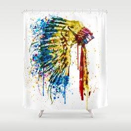 Native American Feather Headdress Shower Curtain