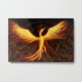 Phoenix Rising Fantasy Painting Bird Mythology Lengendary Creature Rebirth Colorful Metal Print