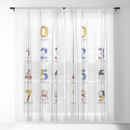 Navy Alphabet Numbers - Leather Sheer Curtain