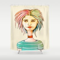 rasta Shower Curtains featuring Rasta Girl by IOSQ