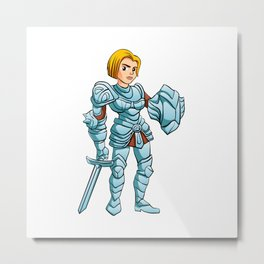 Warrior Princess With Battle sword and Shield Metal Print