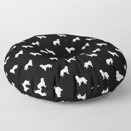 Bernese Mountain Dog pet silhouette dog breed minimal black and white pattern Floor Pillow