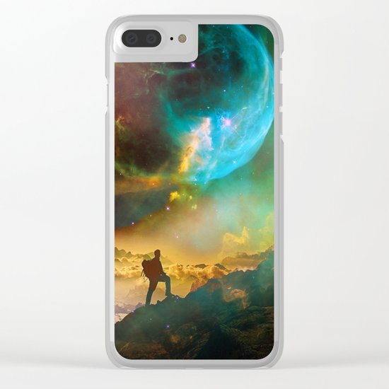 Vibrant Space Hiker Clear iPhone Case