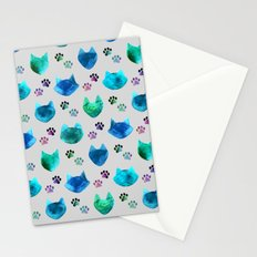 Watercolor Cat Heads - blues & greens on slate grey Stationery Cards