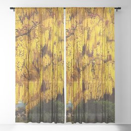 Classical Masterpiece 'Laburnum' by Stanley Spencer Sheer Curtain