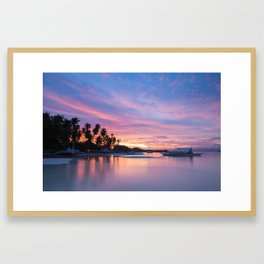 Amazing colourful sunset over the beach, Philippines Framed Art Print