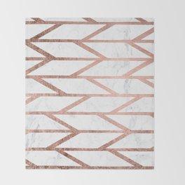 Modern faux rose gold herringbone chevron pattern Throw Blanket