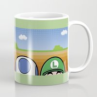 mario bros Mugs featuring Mario Bros by Bazingfy
