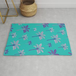 Colorful beach palm trees Rug