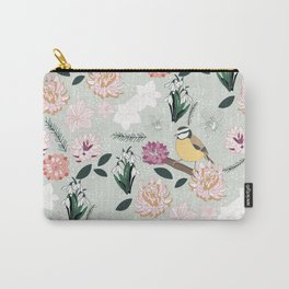 Joyful winter muted floral pattern with bird Carry-All Pouch
